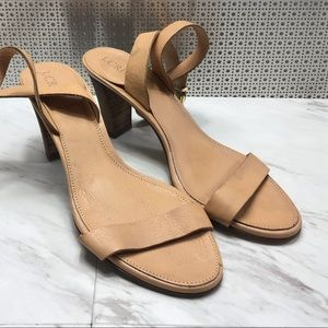 J. Crew open toe strap heels wedges made in Italy
